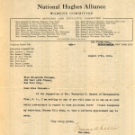 Frances Kellor letter to Elisabeth Freeman about joining the Hughes Campaign