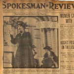 Clipping from the Spokesman Review where Elisabeth Freeman led a street meeting
