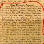 "Fragment of Phoenix newspaper: Elisabeth Freeman accusing Wilson as ""flip flopping"