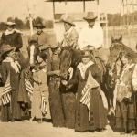 Hughes suffragettes women with cowboys in Miles City, MT