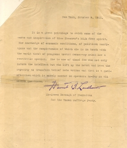Harriet B. Laidlaw, suffrage leader, recommending EF as a speaker