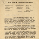 Texas Woman Suffrage Association letter regarding EF employment dispute, p1