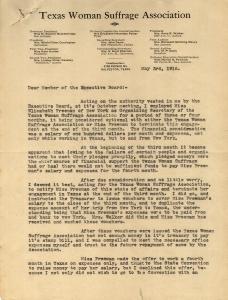Texas Woman Suffrage Association letter regarding EF employment dispute, p1