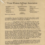 Texas Woman Suffrage Association letter regarding EF employment dispute, p2