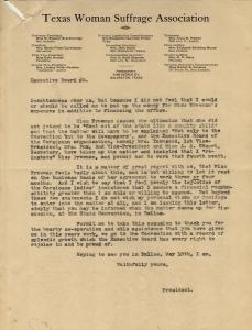 Texas Woman Suffrage Association letter regarding EF employment dispute, p2