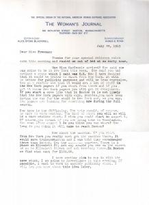 Agnes E. Ryan, of The Woman's Journal, to Elisabeth Freeman, p1