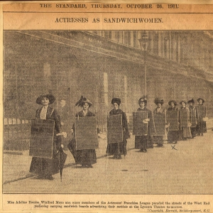 "Photo of actresses as ""sandwich women"" advertising suffrage play"